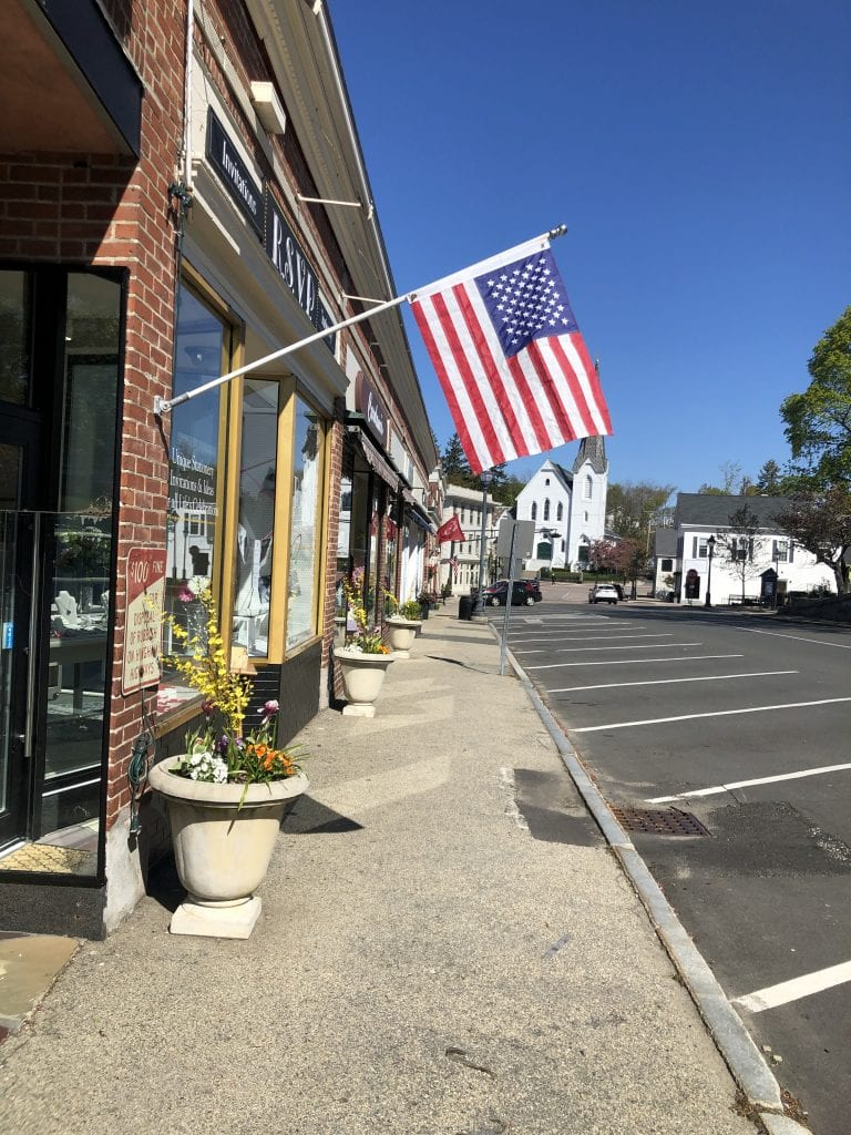 photo of downtown hingham from the hingham anchor